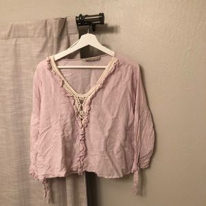 Zara Pink Blouse with Lace Details in Size XS